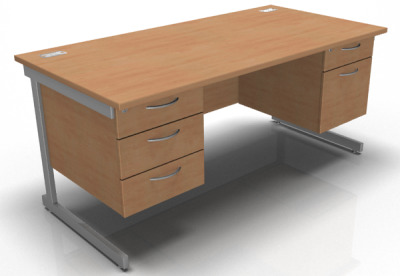 1600mm Double Pedestal Desk With A Cant Frame In Beech