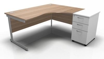 Stella Right Corner Desk With Desk High Pedestal