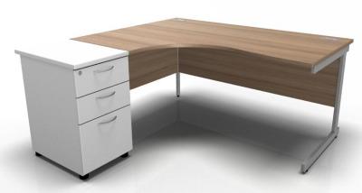 Stellar Left Hand Corner Desk Cantilever Frame Desk High Pedestal