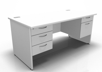 Stellar Rectangular Desk With 2 Fixed Pedestals Panel Sides