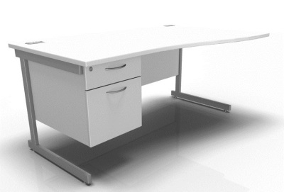 Stellar Right Hand Wave Desk Cantilever Fixed Pedestal