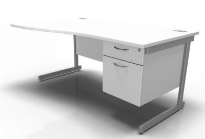 Stellar Left Hand Wave Desk Cantilever Fixed Pedestal