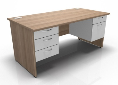 Fixed Double Pedestal Desk In Birch & White
