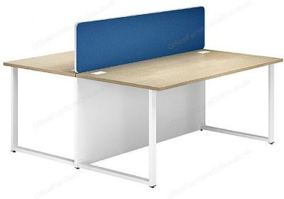 Dual Twin Bench Desk With Desk Screen In Blue Fabric