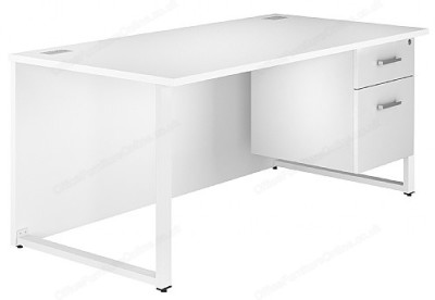 Dual Bench Desk With Drawers In White
