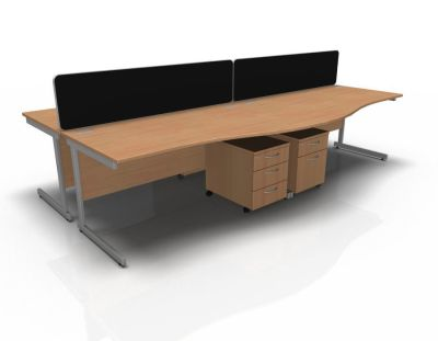 Stellar 4 Way Wave Desk Cluster With Mobile Peds Cant Frame In Beech