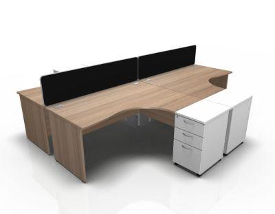 Stellar 4 Way Corner Desk Cluster With Desk High Panel Ends In Birch & White