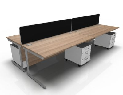Stellar 4 Way Rect Cantilever Cluster With Mobile Peds In Birch & White