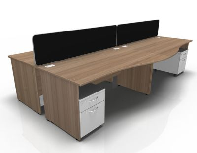 Stellar Wave Desk Panel Ends Mobile Ped Birch White