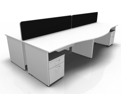 Stellar Wave Desk Panel Ends Mobile Ped White