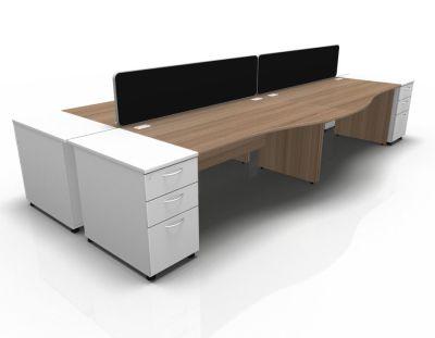 Stellar Wave Desk Panel Ends Desk High Ped Birch White