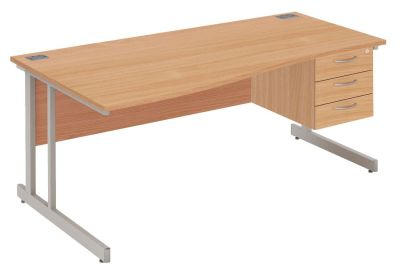 Abacus Left Hand Wave Desk And Drawers