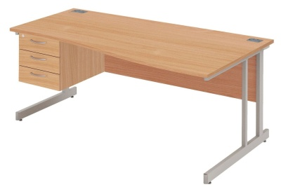 Abacus Right Hand Wave Desk And Drawers