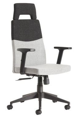 Theo Executive Fabric High Back Chair With Black Upper Sectionj Front Angle