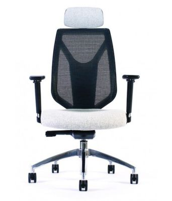 Pulse High Back Chair With A Mesh Back And Headrest Taken From The Front
