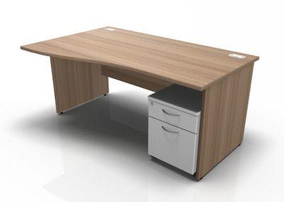 Stellar Left Hand Wave Desk - Panel - Mobile Pedestal In Birch & White