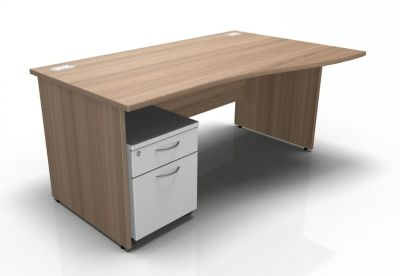 Stellar Right Hand Wave Desk - Panel - Mobile Pedestal In Birch & White
