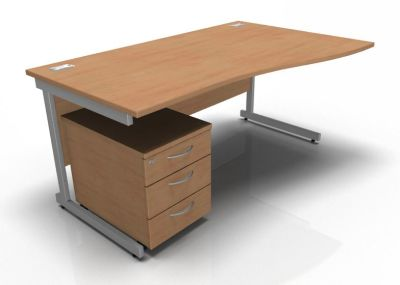 Stella Right Hand Wave Desk And Pedestal In Beech