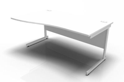 Stellar Left Hand Wave Desk - Cantilever Frame In White