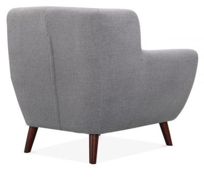 Emuily Designer Armchair Smoke Grey Fabric Rear Angle