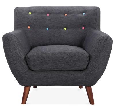 Emily Single Armchair Dark Grey Upholstery Front Shot