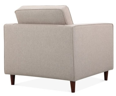 Gustcv Designer Armchair In Cream Fabric Rear View