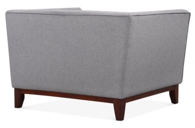 Eden Designer Armchair Smoke Grey Fabric Rear Angle
