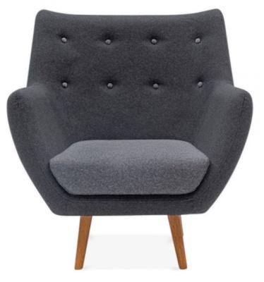 Poet Style Designer Armchair In Grey Front View