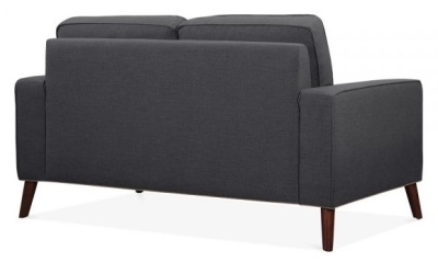 Pimlico Designer Two Seater Sofa In Dark Grey Fabric Rear Angle View