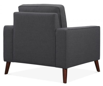 Pimlico Designer Arm Chair Rear Angle Dark Grey Fabric