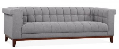 Decor Three Seater Sofa In Smoke Grey Fabric Angl;e View