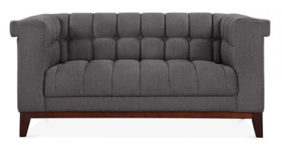 Decor Two Sedater Sofa Dark Grey Fabric Front View