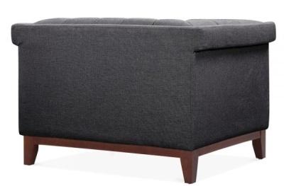 Decor Designer Armchair Dark Grey Fabric Rear Angle View