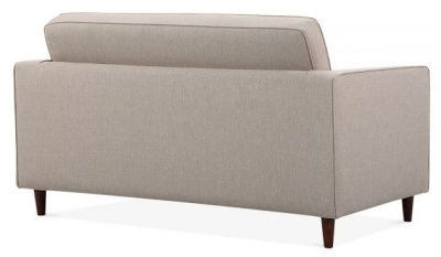 Gustav Two Seater Sofa Rear Angle View Cream Fabric