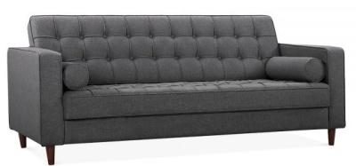 Gustav Thre Seater Sofa In Dark Grey Fabric Angle View