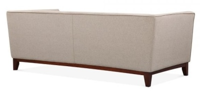 Eden Three Seater Sofa In Cream Rear View
