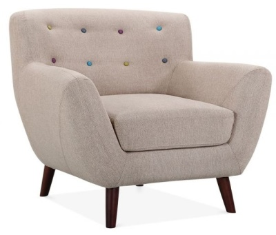 Emily Single Seater In Cream Fabric Angle View