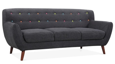Emily Three Seater In Dark Grey Angle View