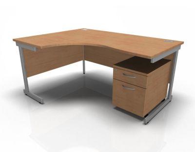 Stellar Left Hand Corner Desk & Pedestal In Beech