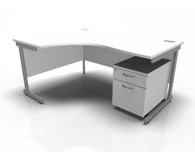 Stellar Left Hand Corner Desk & Pedestal In White