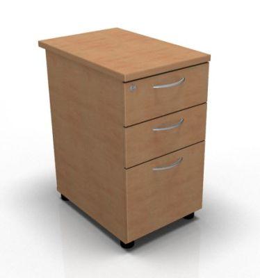 3 Drawer Desk High Pedestal Beech