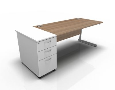 Stellar Rec Desk With DH Ped Cant In Birch White
