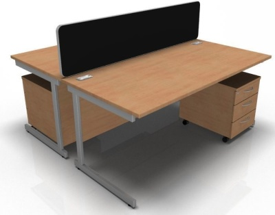 Stellar Two Person Desk Bundle Deal With A Cantilver Frame And Screen