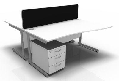 Stellar 2 Way Wave Desk & Mobile Pedestal Cluster - Cantilever Frame In White