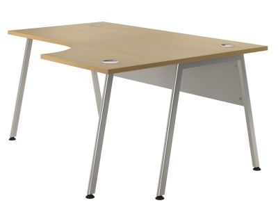 Spectrum Righht Hand Corner Desk With Silver Frame And Beech Top
