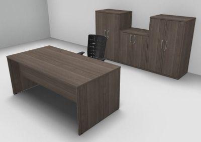 Avalon Exe Anthracite Rectangular Desk Three Double Door Cupboards