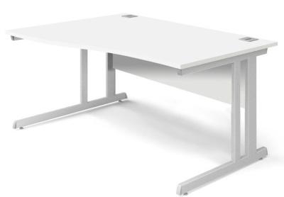 Trapido Left Hand Wave Desk In White