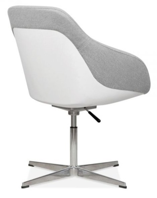 Mexico Tub Chair Light Grey Fabric Rear Angle