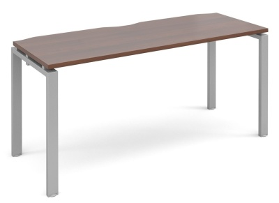 Exact 600mm Deep Bench Desk With A Walnut Top And Silver Frame