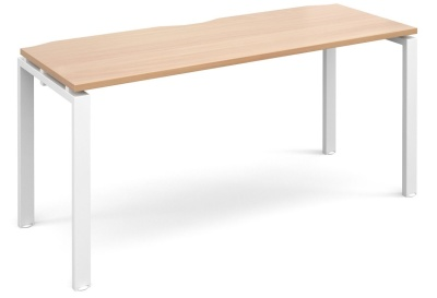 Exact Shellow Bench Desk With A Beecgh Top And White Frame